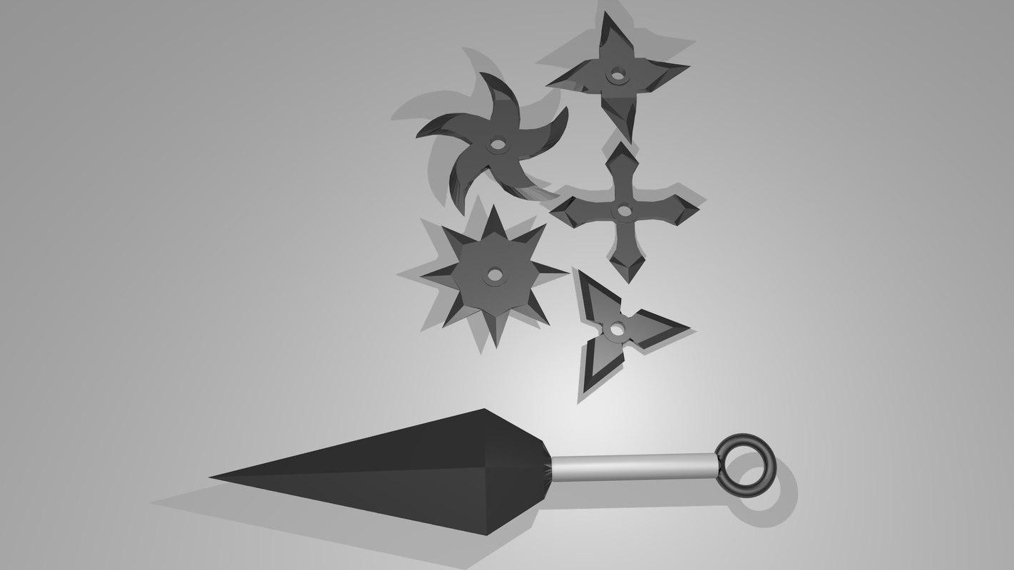 3d model ninja weapons