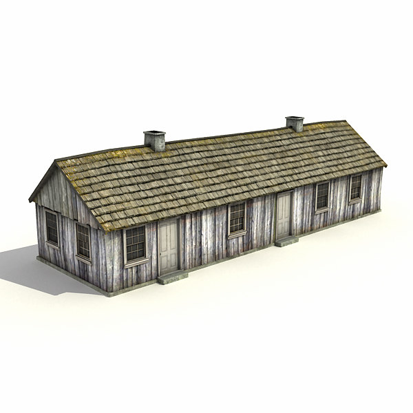 3ds low-poly big barracks