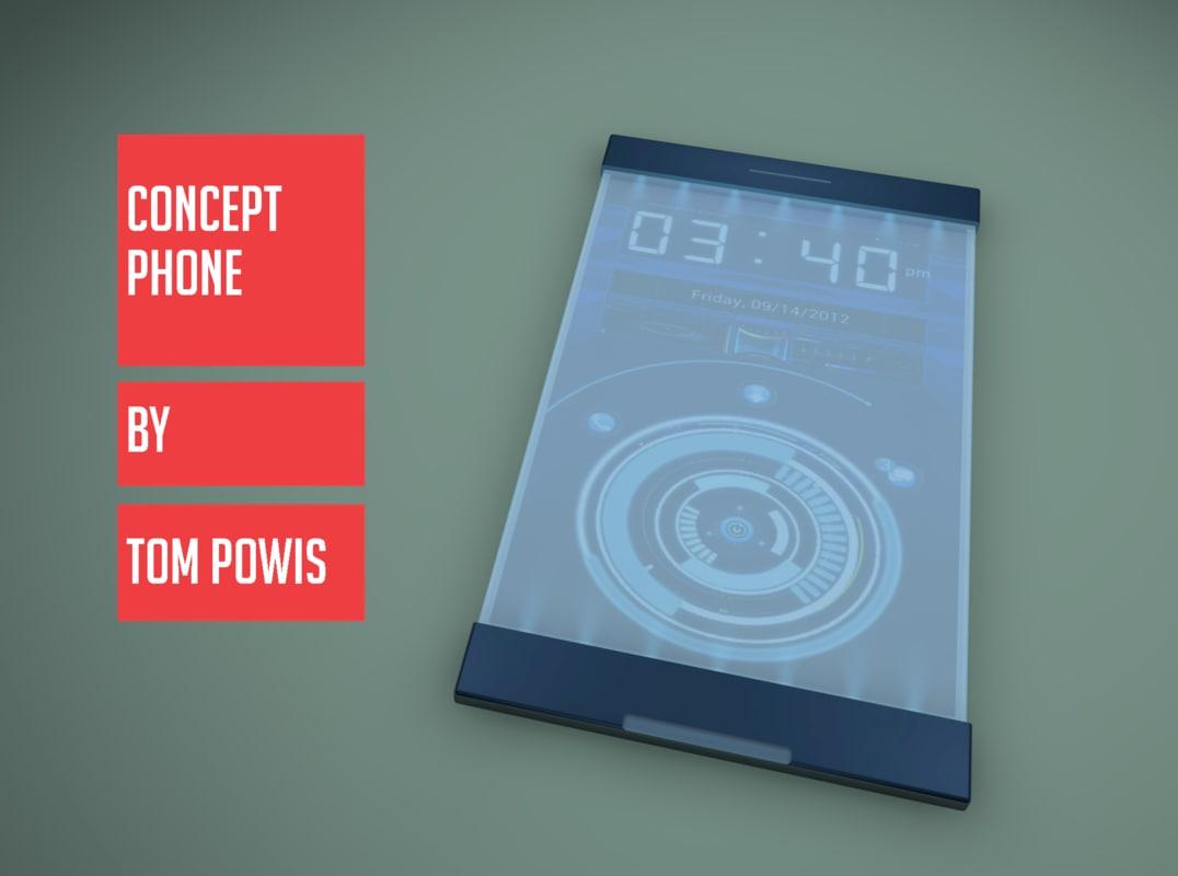 sci fi concept phone c4d