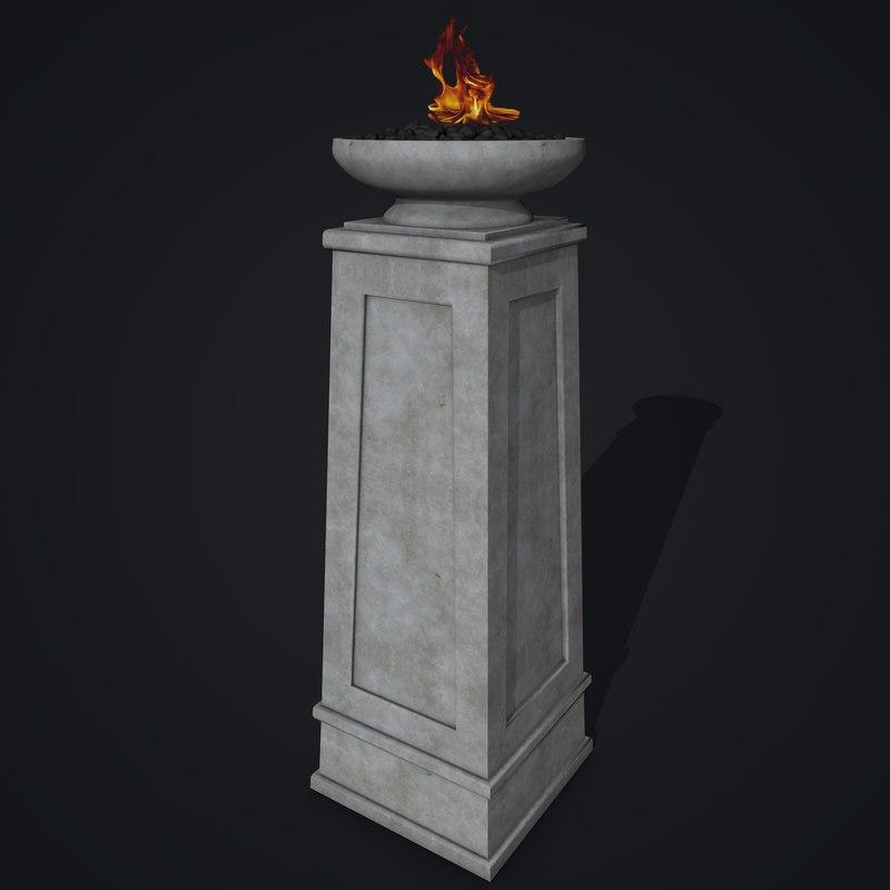 column stone rock 3d 3ds