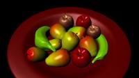 Fruits 3d models mango, apple, bananas