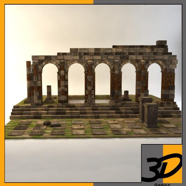 ancient architectural ruins roman 3d model