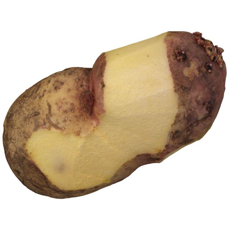 3d model potatoes peel vegetable