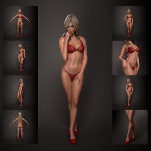 woman female human 3d model