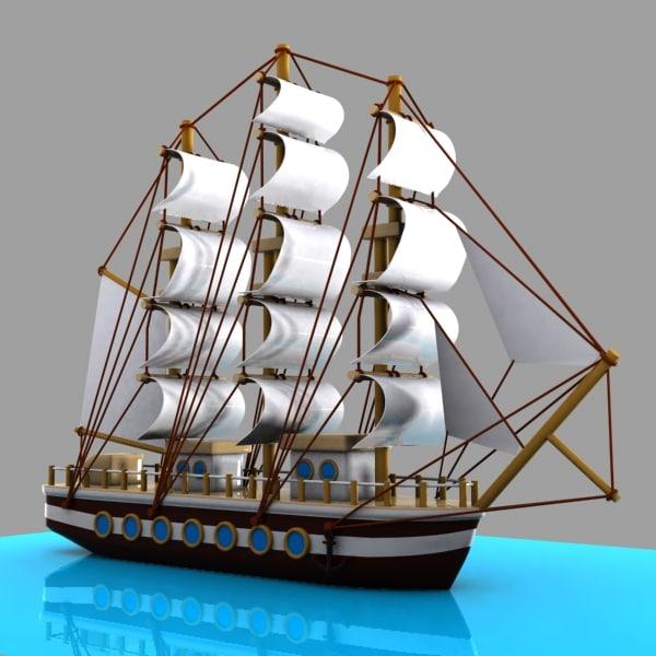 3d cartoon sailing ship