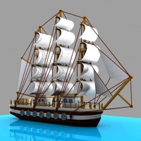 3d cartoon sailing ship