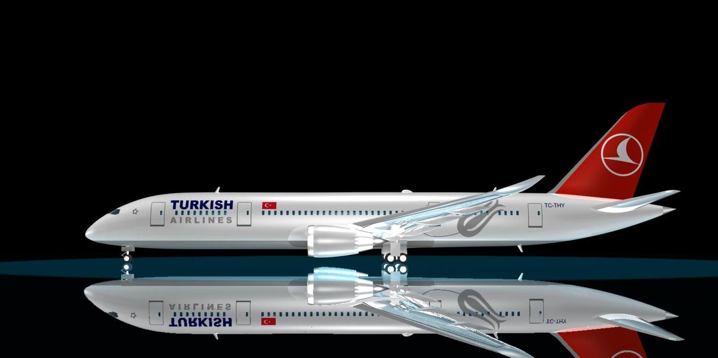 turkish airlines 787-8 dreamliner 3d max