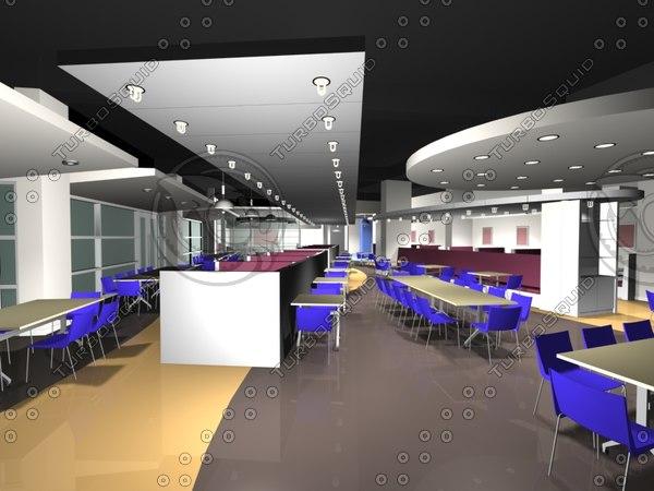 3d restaurant cafeteria model