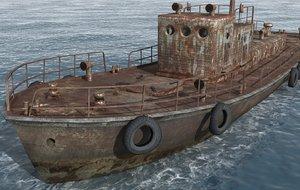 3d old tug ship