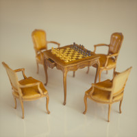 Chess Table & Armchairs