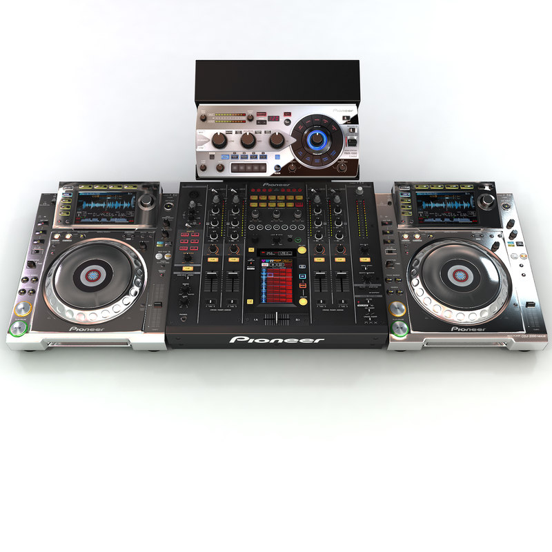 3d pioneer dj setup turntable model