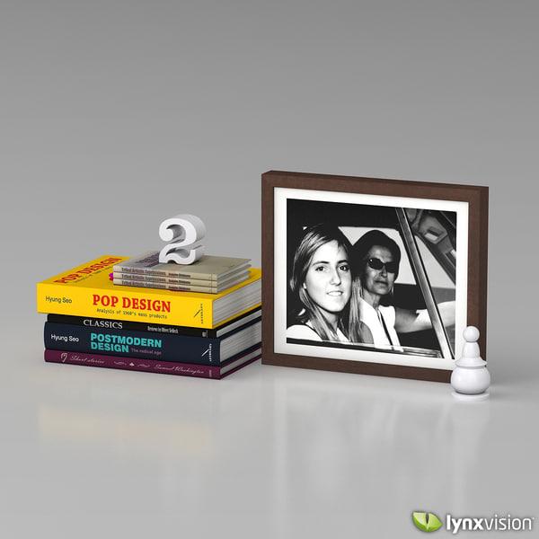 wooden photo frame books 3d model