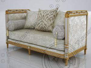 3d model marie-antoinette 2 seater sofa