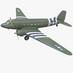 3d military transport aircraft douglas c-47 model
