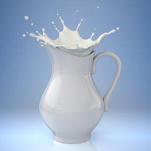 3d model splash milk pitcher