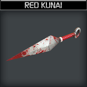 metallic kunai red 3d model