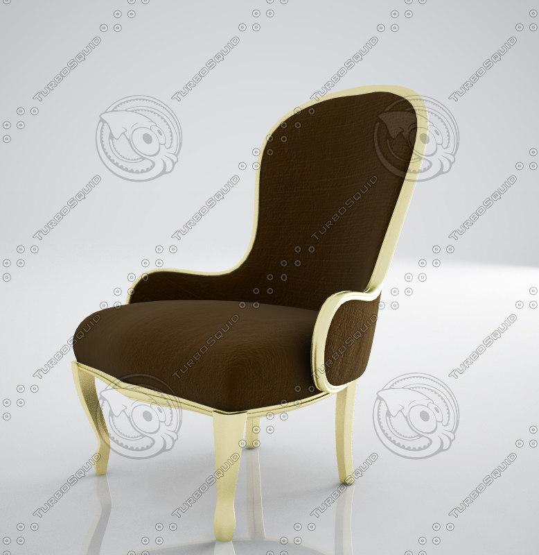 classical antique armchair 3d model
