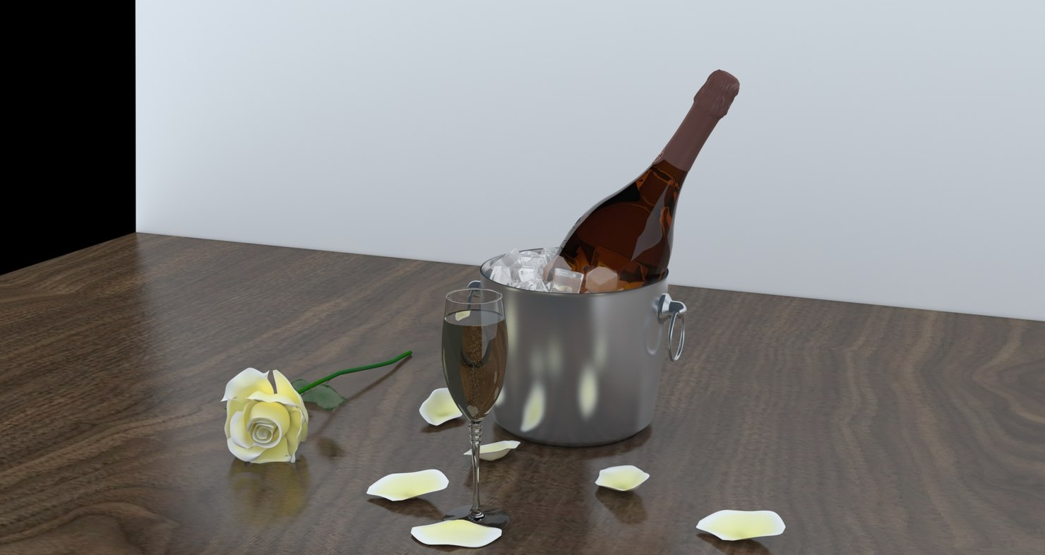 3d iced champagne white rose model