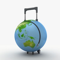 suitcase globe creative 3d lwo