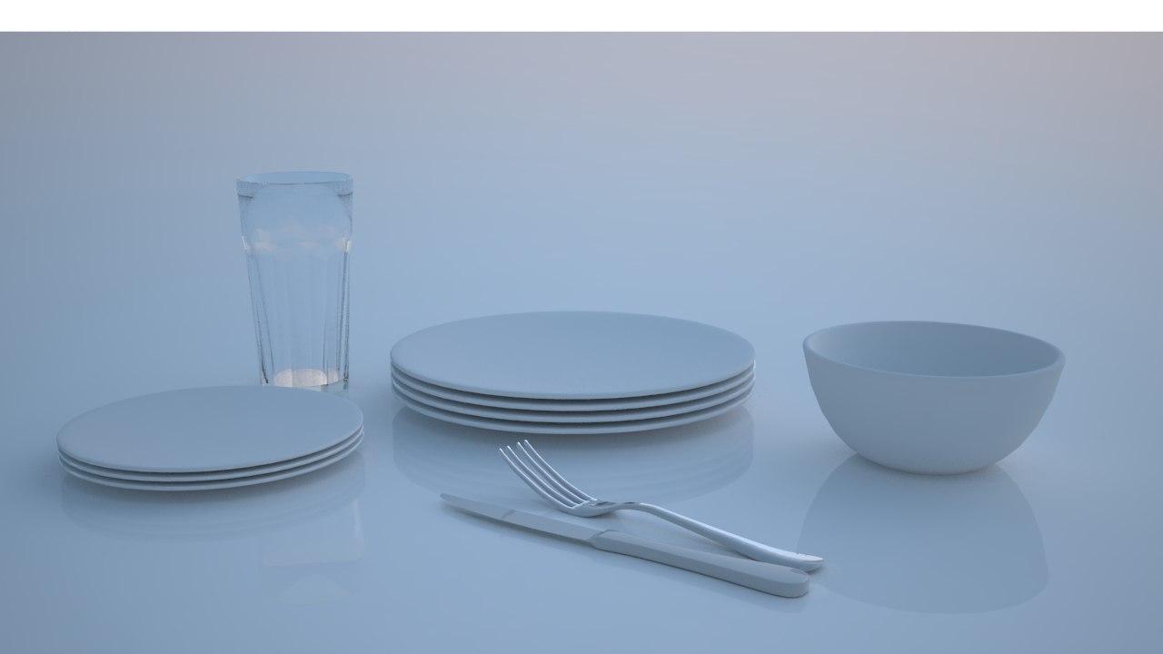 3d model plates glass knife