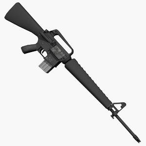 3d xm16-e1 rifle m16 model