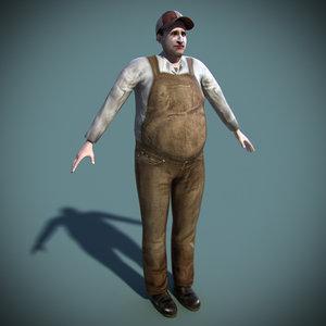 3d model of farmer rigged farm