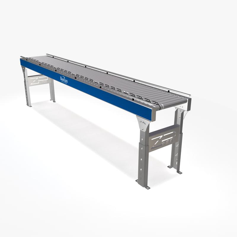 3d model live roller conveyor dc motor