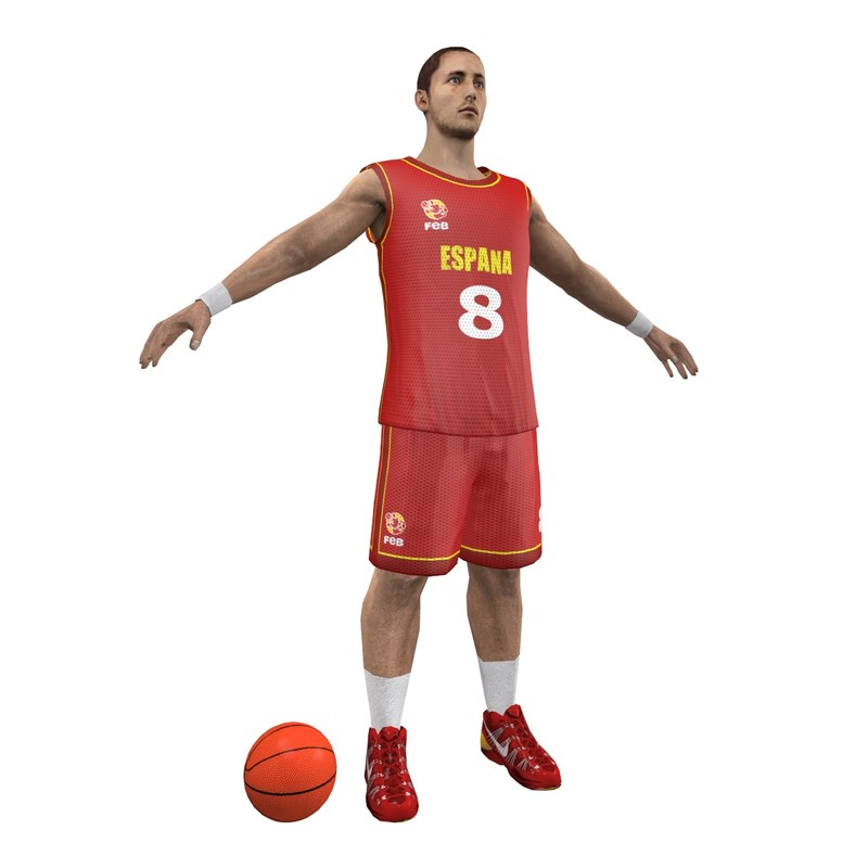 3d spain basketball player ball model