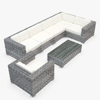 Garden Furniture - Synthetic Rattan - Corner Sofa, armchair, coffee table