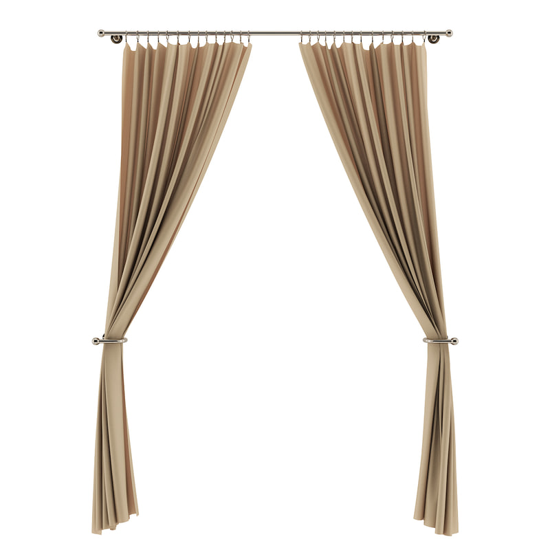 3d beige curtains model