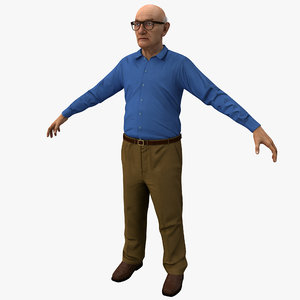 3d elderly man rigged 2