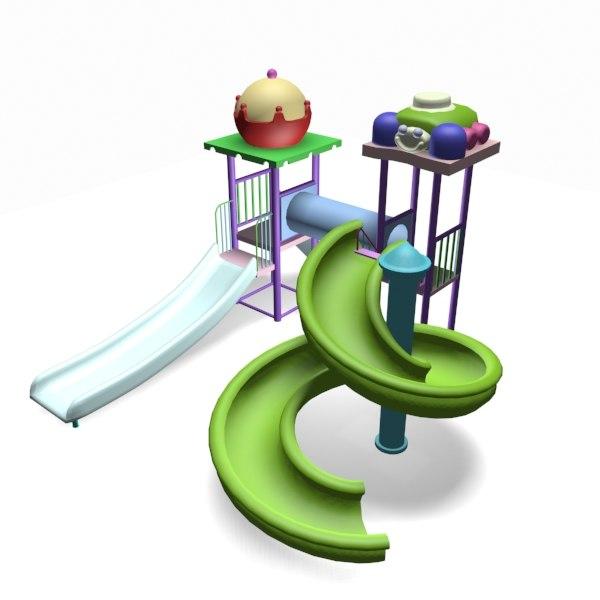 3d model playpark equipment fun