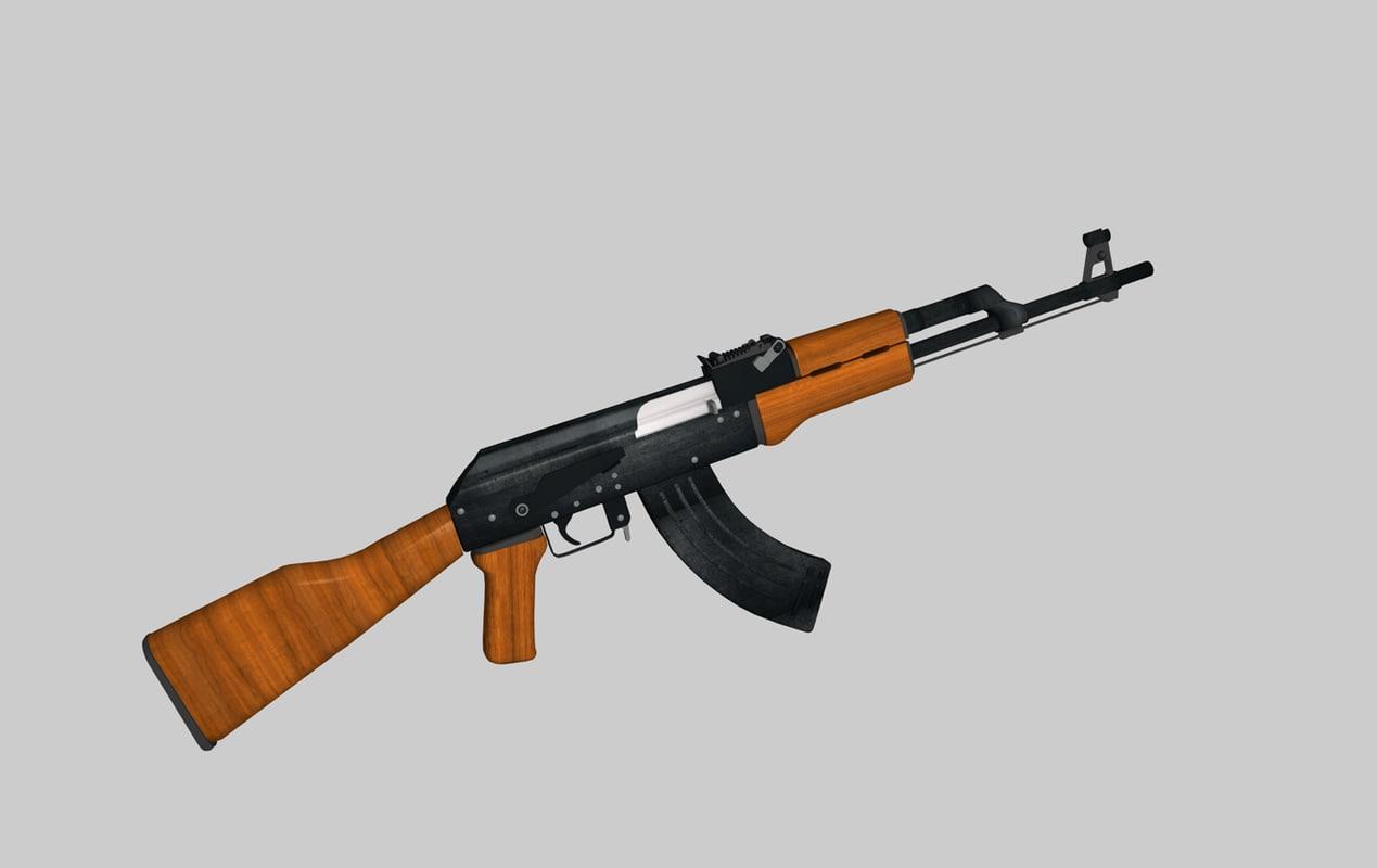 ak47 assault rifle 3d c4d