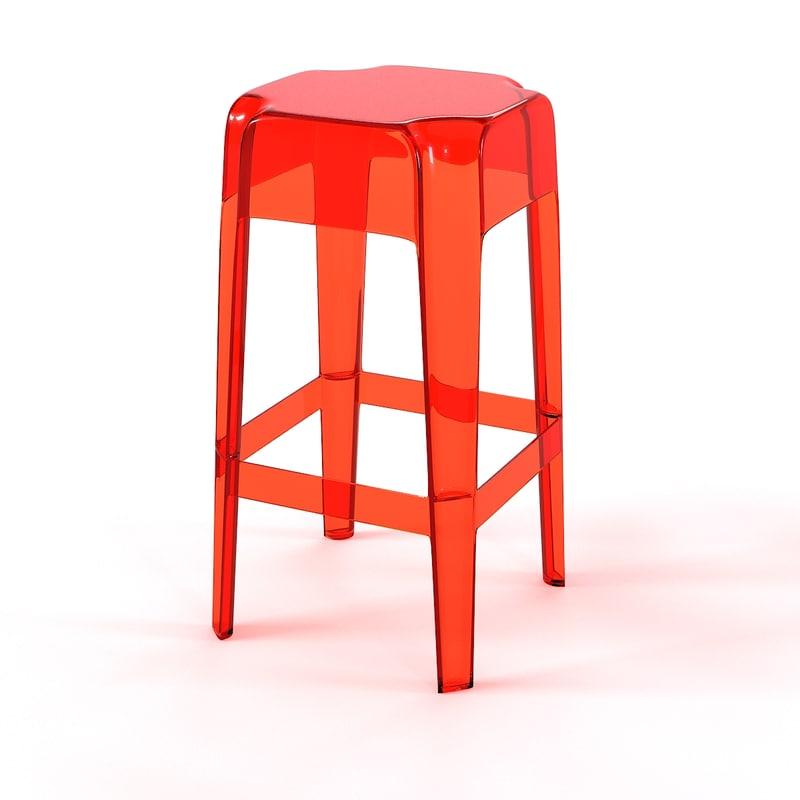 3d model acrylic bar stool