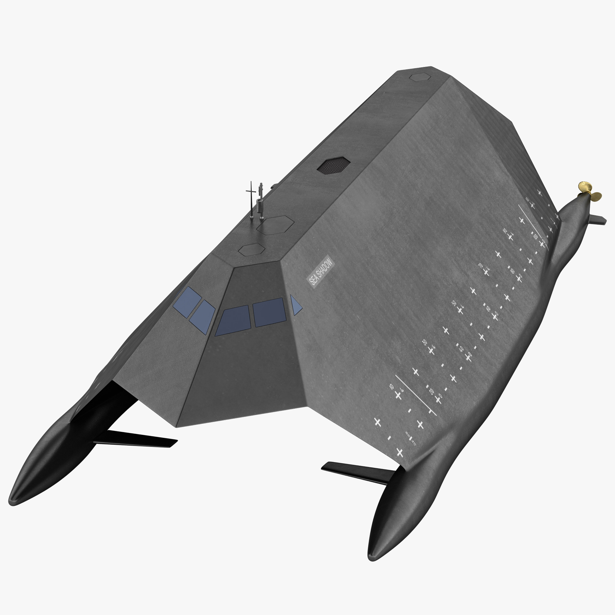 3ds max navy stealth ship sea shadow