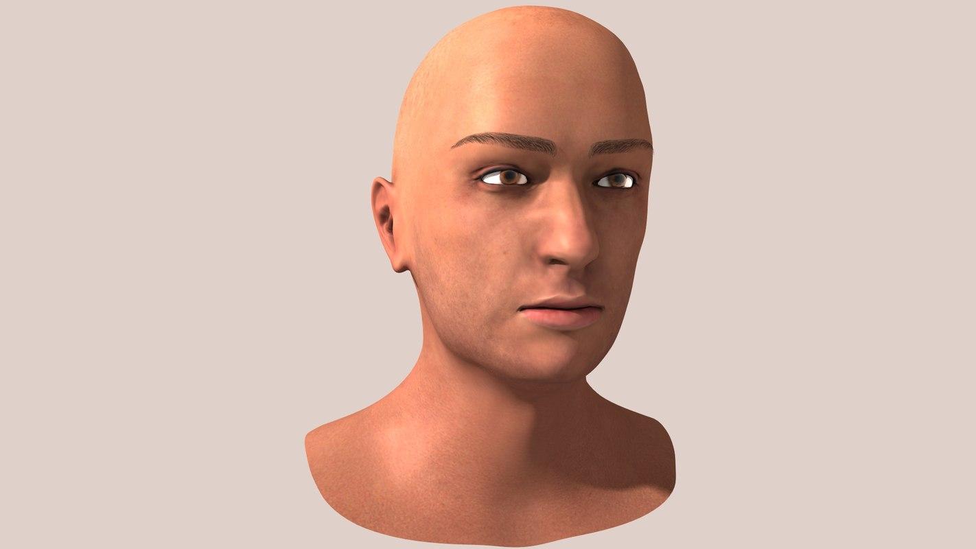 male bust human 3d lwo