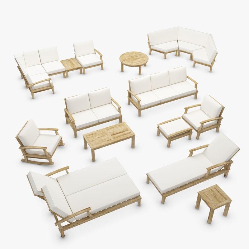 3d model ventura teak outdoor furniture