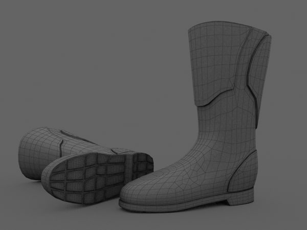 motorbike boots 3d 3ds