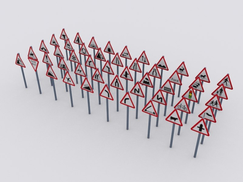 3d 50 uk road traffic signs