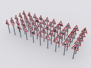 3d 50 uk road traffic signs
