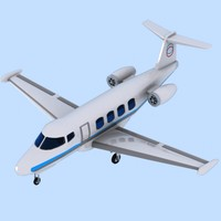 3d cartoon private jet model