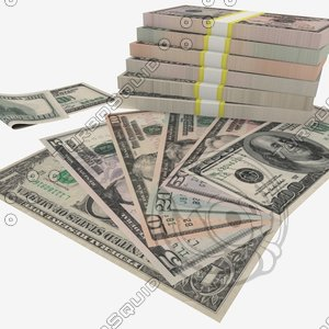 3d model of dollars banknotes - 1$