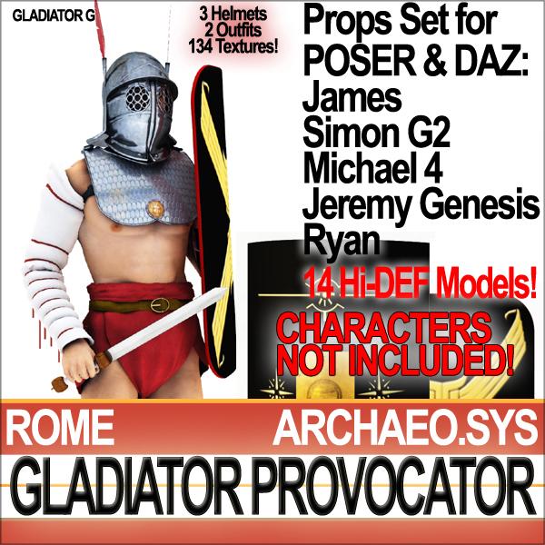 props set daz roman gladiator 3d c4d