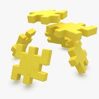 3d model happy cube yellow animation