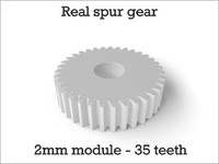 Real spur gear 2mm module - 35 teeth