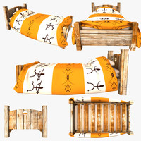 african style bed 3d model