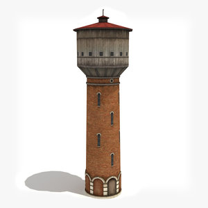 3d low-poly water tower model
