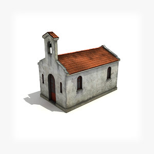 3d model of low-poly small church building