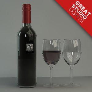 wine bottle glasses screaming 3d model