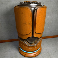 Worn Metal SciFi Urn Container extremely detailed